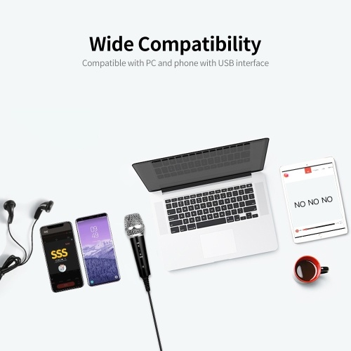 USB Wired Condenser Microphone Recording Microphone Kit Karaoke Voice Microphone USB Drive-free Microphone with Stand Black