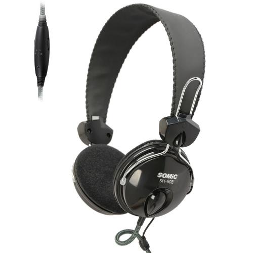 Somic SH808 sobre-orelha Bass estéreo som PC Headset fones de ouvido fone de ouvido 3,5 mm, com fio para computador portátil com microfone