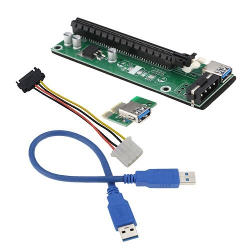 PCI-E 1X a 16X Riser cartão USB 3.0 cabo flexível Extender com SATA 4 Pin IDE Molex Cabo de energia para Bitcoin litecoin Miner