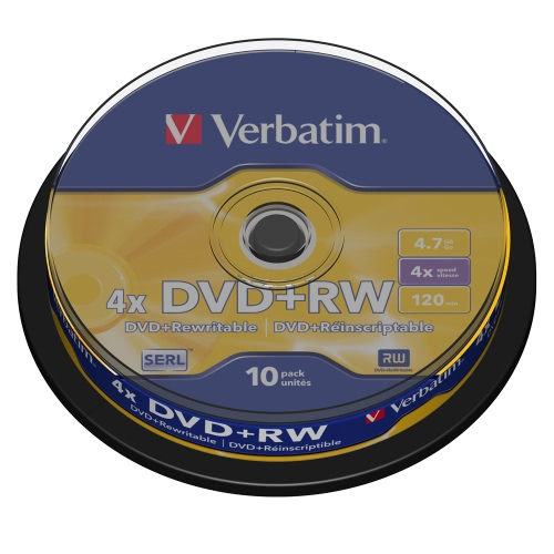 Verbatim DVD + RW 4.7GB 4x 120min 10pk wrzeciona Markowe wielokrotnego zapisu dyski kompaktowe Przechowywanie danych DVD 43488