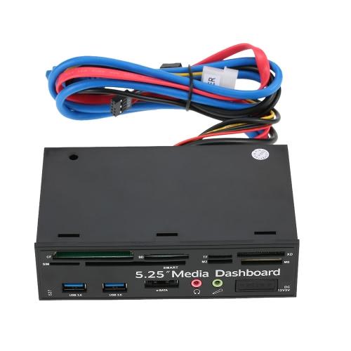 Multi-Function USB 3.0 Hub eSATA Port Internal Card Reader PC Dashboard Media Front Panel Audio for SD MS CF TF M2 MMC Memory Cards Fits 5.25