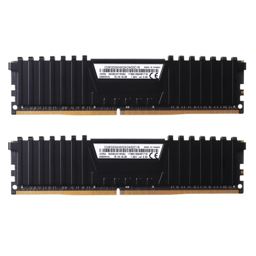 CORSAIR Vengeance LPX 32GB (2 x 16GB) DDR4 DRAM 2400MHz C16 1.2V (PC4-19200) 288-Pin Memory Kit CMK32GX4M2A2400C16 for AMD Ryzen (Black) C4919