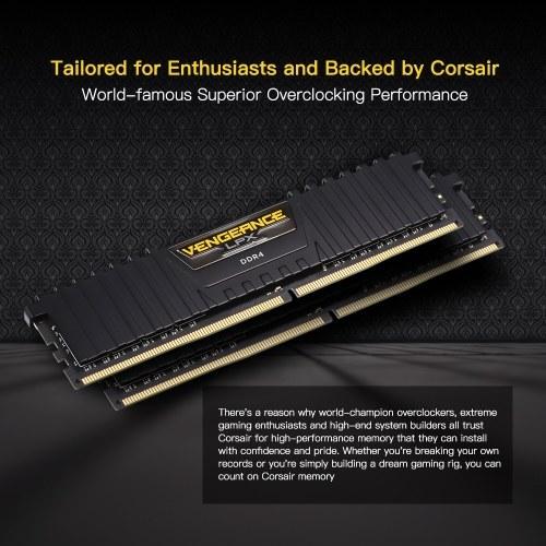 corsair vengeance lpx 32gb (2 x 16gb) ddr4 dram 2400mhz c16 1.2v (pc4-19200) 288-pin memory kit cmk32gx4m2a2400c16 for amd ryzen (black)