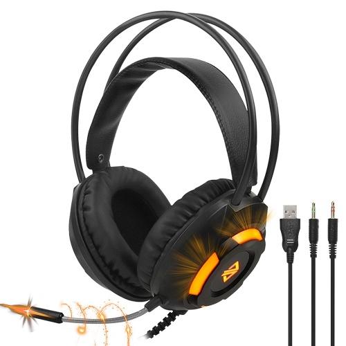 Ajazz AX120 Luminous Headset 3,5-mm-Audio-USB-Anschluss 50-mm-Surround-Bass-Sound Musikkopfhörer Omnidirektionales Mikrofon Weiche, atmungsaktive Ohrenschützer Kopfhörer für Computer-Office-Spiele