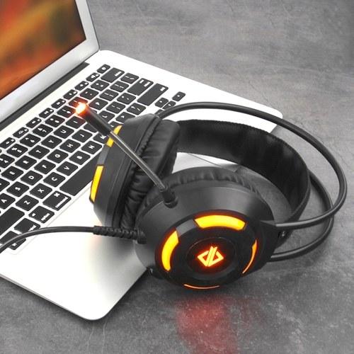 Ajazz AX120 Luminous Headset 3.5mm Audio USB Connector 50mm Surround Bass Sound Musica Cuffie Microfono omnidirezionale Morbido traspirante Cuffie auricolari per computer Office Gaming