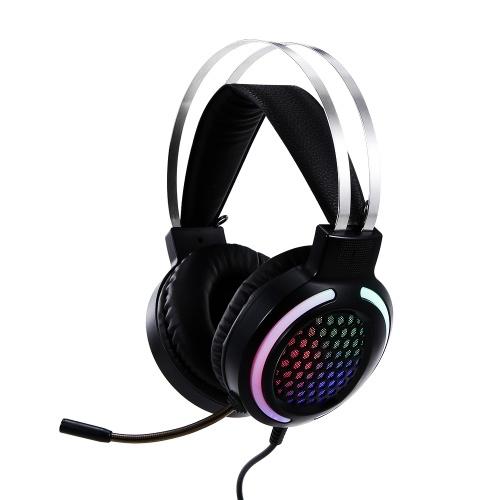 Fone de ouvido com fio para jogos Fone de ouvido colorido RGB de luz com microfone de redução de ruído 360 ° 3,5 mm + USB para PC laptop preto