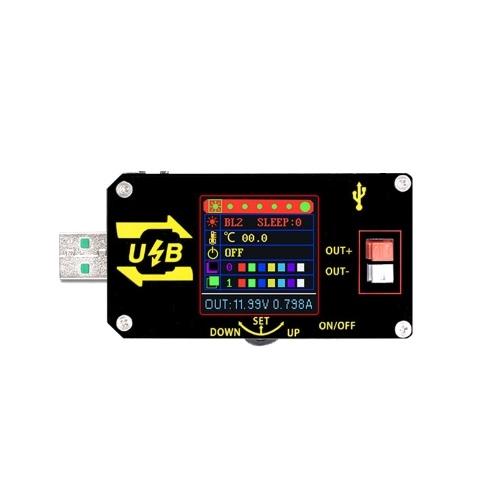 Farbbildschirm USB-Spannungswandler Buck-Boost-Regler-Modul Konstante Spannungs- und Stromanzeige 15W