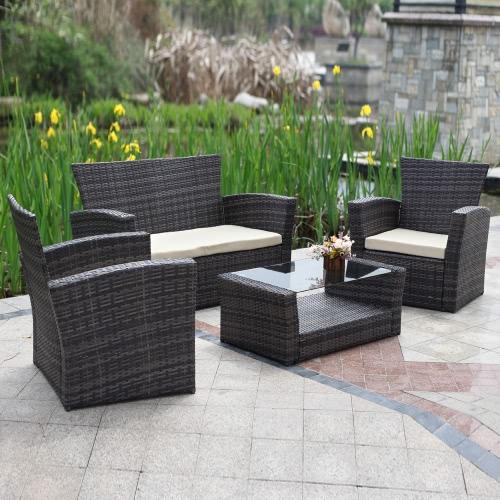 IKayaa 4PCS Ensemble de meuble en coussins en mousseline en mousse