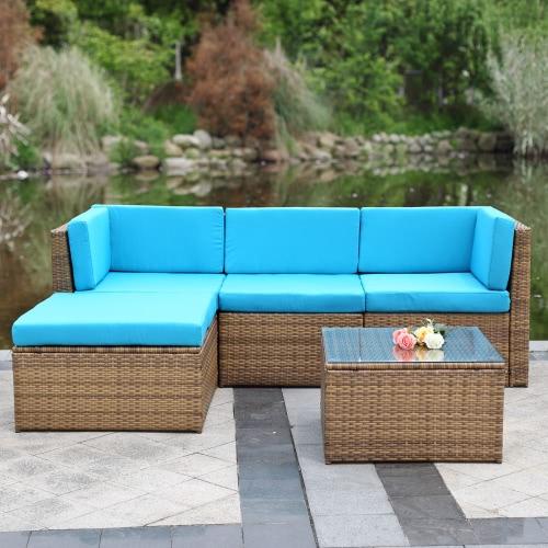 IKayaa 5PCS amortiguado conjunto de muebles al aire libre sofá