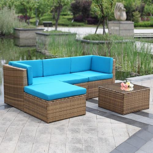 iKayaa 5PCS Cushioned Outdoor Furniture Sofa Set