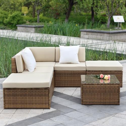 IKayaa 6PCS Outdoor Divano Divano in rattan seamless in seta marrone chiaro
