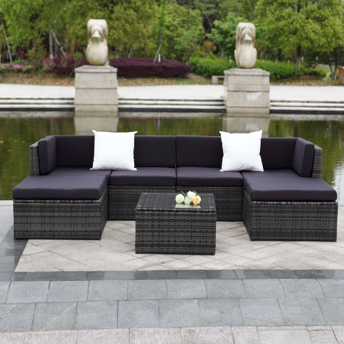 iKayaa 7PCS Cushioned Outdoor Patio Garden Furniture Sofa Set Ottoman Corner Couch Sectional Furniture Rattan Wicker