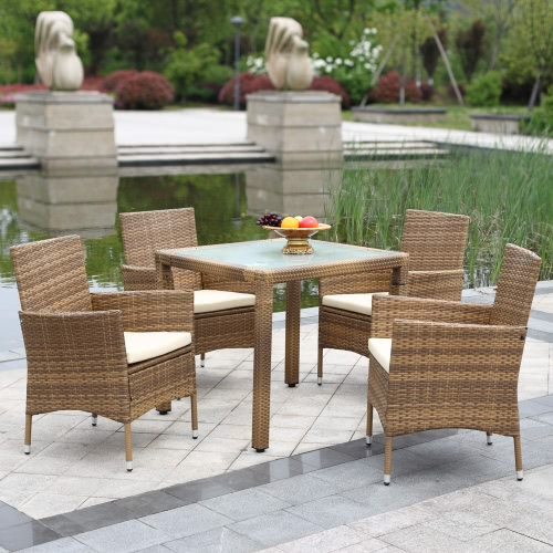 IKAYAA 5PCS Rattan Outdoor Patio Dinning Table Set Cushioned Garden Patio Furniture Set