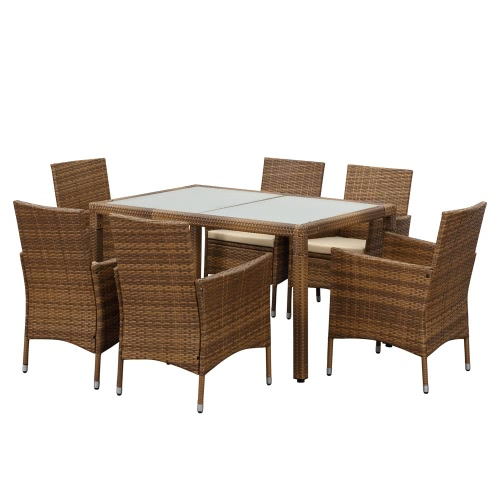 IKayaa 7PCS Rattan Wicker Outdoor Patio Dinning Table Set Light Brown