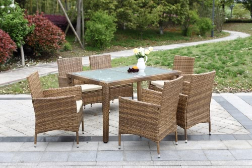 IKayaa 7PCS Rattan Outdoor Patio Dinning Table Set Мягкий садовый патио Комплект мебели Light Brown + Coffee Cushion
