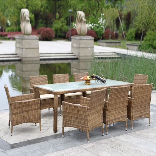 iKayaa 9PCS Rattan Outdoor Patio Dinning Table Set Cushioned Garden Patio Furniture Set  Light Brown + Coffee Cushion