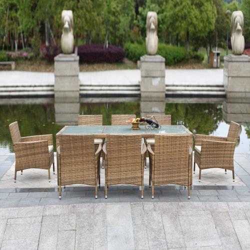 IKAYAA 9PCS ротанг открытый патио обеденный стол набор мягкой сад патио набор мебели