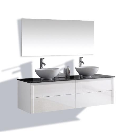 Meuble de salle de bain double vasque design – 2 coloris disponibles