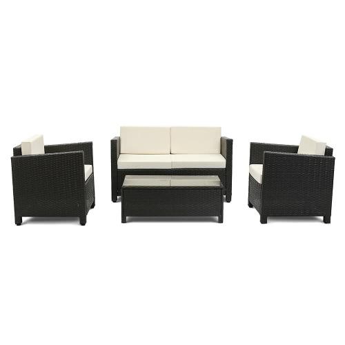 Salon de jardin iKayaa 4 personnes – 2 fauteuils +  canapé 2 places Noir et beige / Brun foncé et rouge
