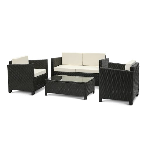 iKayaa 4PCS Ensemble de meubles de patio en rotin coussiné noir