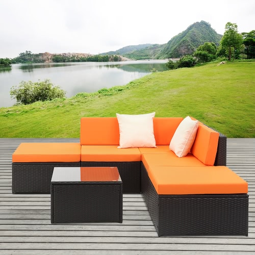iKayaa 6PCS Rattan Wicker Outdoor Patio Divano Set Nero