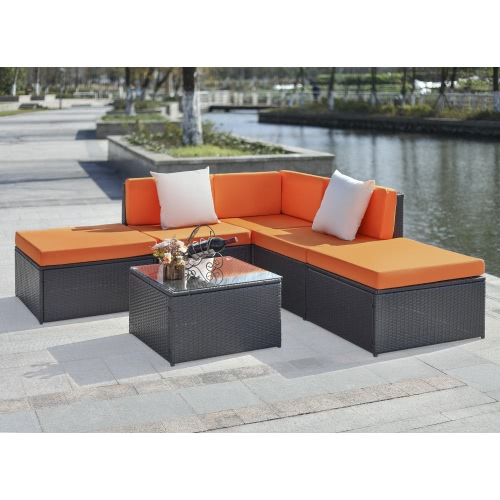 iKayaa 6PCS Cushioned Rattan Outdoor Patio Furniture Set Garden Wicker Sectional Corner Sofa Couch Table Set
