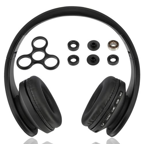 Andoer BT Headphone sem fio estéreo BT 4.1 Headset 3,5 milímetros fone de ouvido com fio MP3 Player TF cartão de rádio FM Hands-free Gold + DIY Tri Fidget Spinner