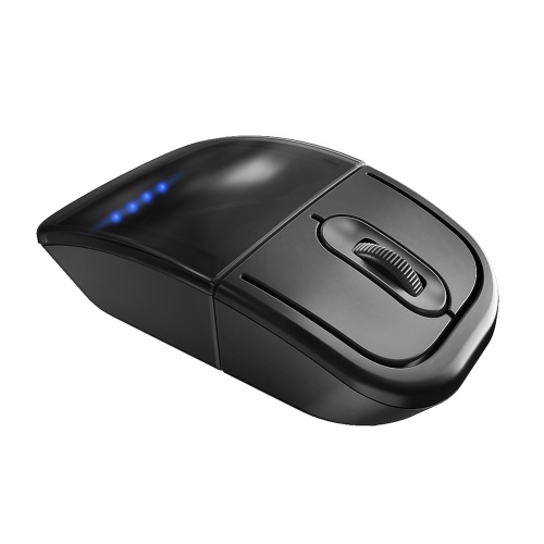 Multifunctional Wireless Mouse 2.4G BT Dual-mode Mouse Portable Rechargeable Optical Mouse with TWS BT Headphones Black