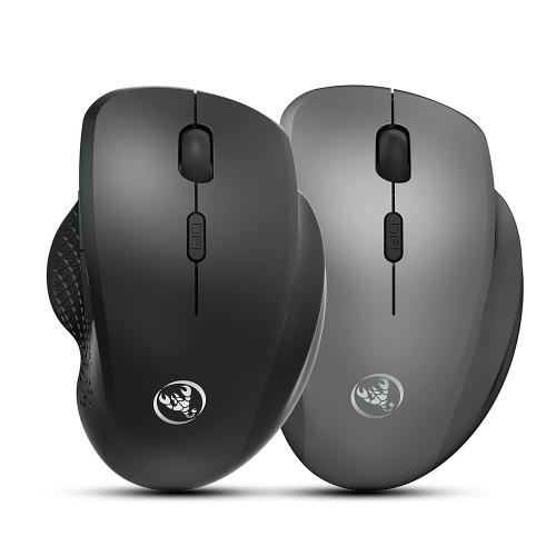 HXSJ T68 Wireless Ergonomic Mouse Mute 2,4 GHz Wireless Mouse mit einstellbarer DPI für Laptop / Computer Internet Surfer Schwarz