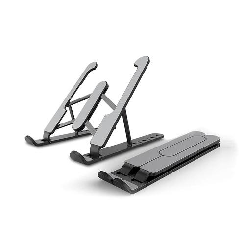 Laptop Tablet Stand 6-level Height Adjustable Folding Portable Office Holder Cooling Bracket for 11-17 Inch Laptop Black