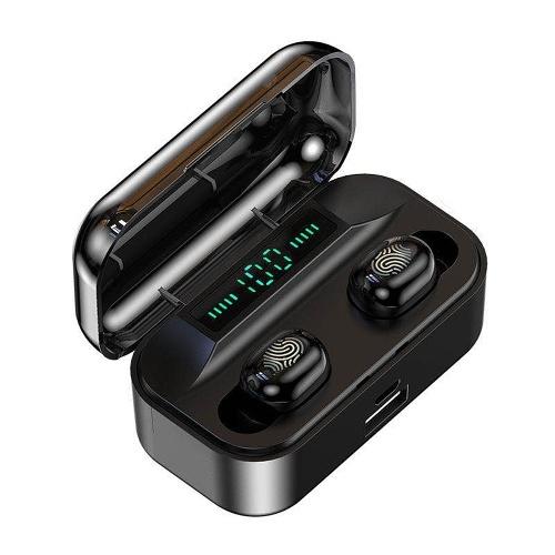 Fone de ouvido sem fio G6S Bluetooth com display de alimentação LED Mini fone de ouvido estéreo TWS à prova d'água para veículo / esporte preto