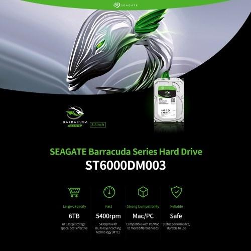 Seagate BarraCuda Series ST6000DM003 3.5 inch Mechanical Hard Disk SATA Internal HDD 6TB 5400RPM 256MB Cache for PC/Mac