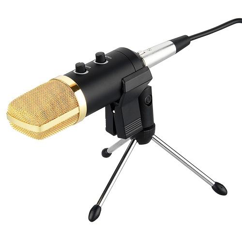 Microphone de studio professionnel Microphone d'enregistrement sonore à condensateur USB avec micro d'enregistrement de Studio cardioïde pour ordinateur portable PC noir