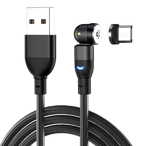 Вращающийся на 540 градусов Магнитный всасывающий кабель для передачи данных 3A Кабель для быстрой зарядки Телефонный зарядный шнур 1 м Интерфейс Micro USB Черный