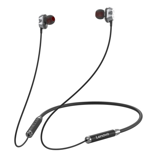 Lenovo HE08 Halsbehang Drahtloser BT-Kopfhörer In-Ear-Kopfhörer IPX5 Wasserdichter Sport-Ohrhörer mit geräuschunterdrückendem Mikrofon Schwarz