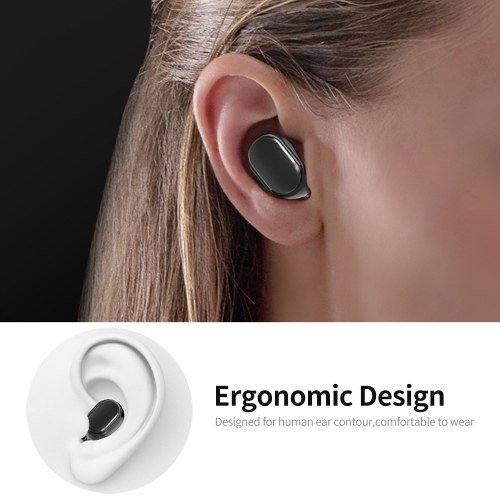 A6S Wireless BT Earphone Stereo Mini Design Waterproof Ear-in Headset for  Vehicle/Sport  Android/IOS Black