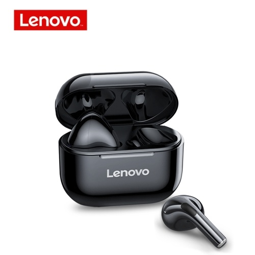 Fone de ouvido Lenovo LP40 TWS True Wireless BT Earbuds Fone de ouvido esportivo semi-in-ear com bobina móvel de 13 mm Long Endurance Time Preto