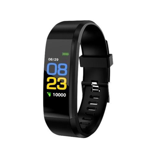 0,96 pouces à écran tactile Bracelet intelligent Montre de sport Support étanche Suivi de mouvement Moniteur de fréquence cardiaque Informations Push Noir