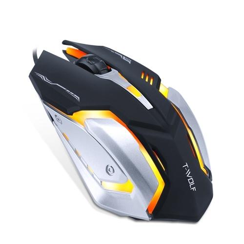 Souris de jeu filaire T-WOLF V5 4 boutons 7 rétro-éclairage coloré 800-2400DPI souris optique de bureau pour ordinateur portable / PC noir