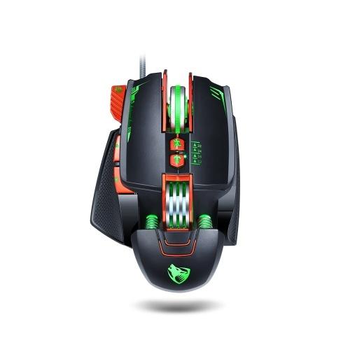 Souris de jeu filaire T-WOLF V9 8 boutons rétroéclairage 7 couleurs 1200-3200DPI souris de bureau pour ordinateur portable / PC poids intégrés