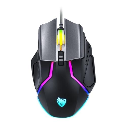 T-WOLF V11 Mouse da gioco cablato 8 pulsanti RGB colorato 1000-6400 Mouse da ufficio DPI regolabile per laptop / PC Pesi incorporati