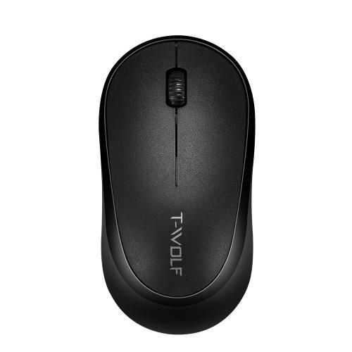 T-WOLF Q18 2.4G Беспроводная оптическая офисная мышь 3 кнопки 1000 DPI Эргономичная игровая мышь для ПК / ноутбука Черный
