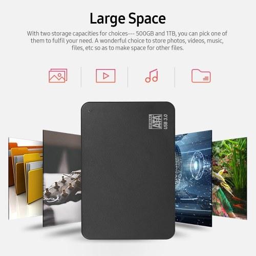 2.5inch Portable External Hard Drive USB 3.0 HDD High Transmitting speed/ Plug and Play/ for PC/Laptop/Desktop Black 2TB
