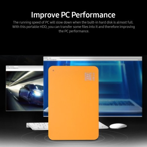 2.5inch Portable External Hard Drive USB 3.0 HDD High Transmitting speed/ Plug and Play/ for PC/Laptop/Desktop Orange 2TB