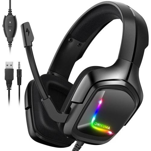 ONIKUMA K20 Головная гарнитура Проводная игровая гарнитура для электронного спорта с RGB-подсветкой