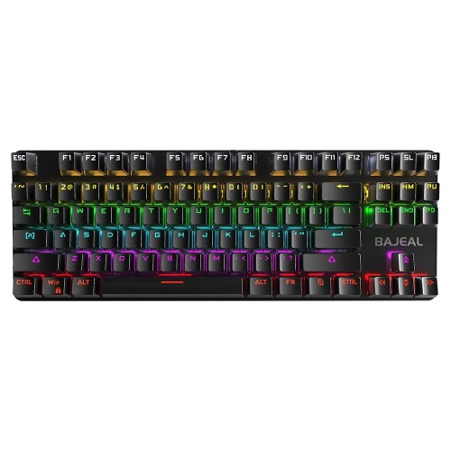 BAJEAL 87 Keys Wired Gaming Mechanical Keyboard with Mechanical Blue Switch RGB Light Effect