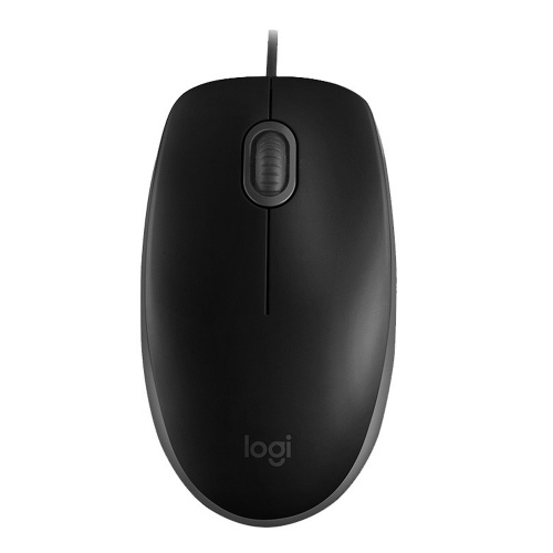Logitech M110 USB Wired Optical Mouse Full-size Mute Office Mouse Ergonomic Mice Plug&Play for Desktop Computer Laptop Black