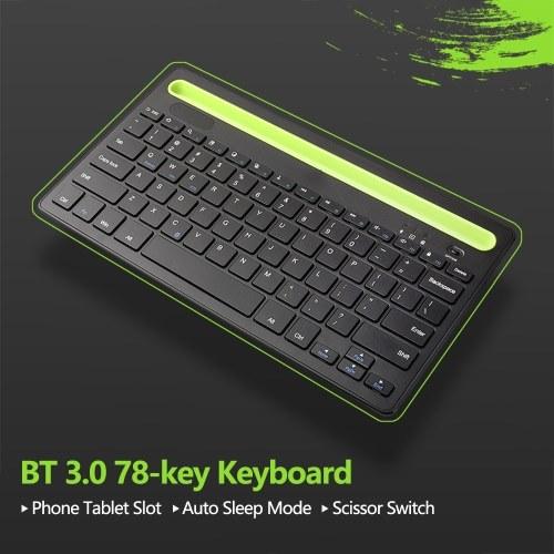 BT 3.0 Keyboard Wireless Rechargeable 78-key Keyboard with Phone Tablet Slot Scissor Switch Auto Sleep Mode