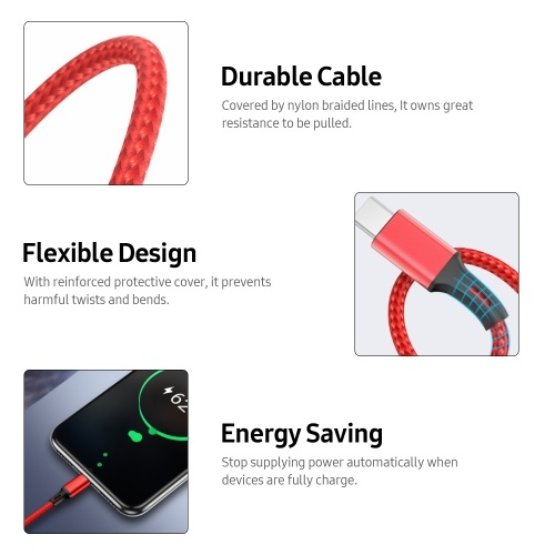 3-in-1 Universal Cable 2.4A Multifunctional One-for-All Cord with Type-C/Micro USB Ports/Reinforced Protective Cover, Black