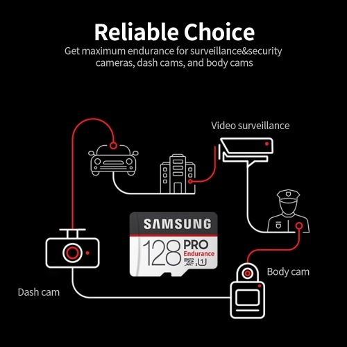 SAMSUNG PRO Endurance 128GB TF Card High Speed Micro SD Memory Card Support 4K for Dash Cam Home Surveillance System